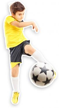 Vinyl Print. Kid playing Soccer